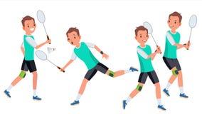 Vetor masculino do jogador do badminton Na ação raquete Esporte moderno, passatempo Guardando a peteca Personagem de banda desenh ilustração do vetor