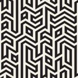 Vetor Maze Lines Geometric Irregular Pattern preto e branco sem emenda Fotografia de Stock Royalty Free