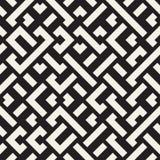 Vetor Maze Lines Geometric Pattern diagonal preto e branco sem emenda Foto de Stock Royalty Free