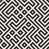 Vetor Maze Lines Geometric Pattern preto e branco sem emenda Fotografia de Stock Royalty Free