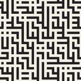 Vetor Maze Lines Geometric Pattern preto e branco sem emenda Fotos de Stock Royalty Free
