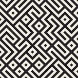 Vetor Maze Lines Geometric Pattern preto e branco sem emenda Imagens de Stock