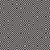 Vetor Maze Stripes Irregular Geometric Pattern preto e branco sem emenda Fotografia de Stock