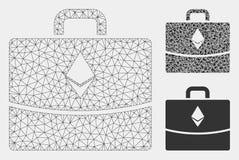 Vetor Mesh Carcass Model do caso da contabilidade de Ethereum e ícone do mosaico do triângulo ilustração stock