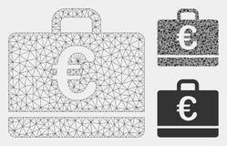 Vetor Mesh Carcass Model do caso do Euro e ícone do mosaico do triângulo ilustração royalty free