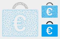 Vetor Mesh Network Model do caso da contabilidade do Euro e ícone do mosaico do triângulo ilustração stock