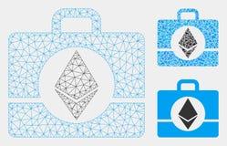 Vetor Mesh Network Model do caso de Ethereum e ícone do mosaico do triângulo ilustração stock