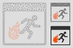 Vetor Mesh Wire Frame Model da página do calendário do homem da evacuação do fogo e ícone do mosaico do triângulo ilustração royalty free