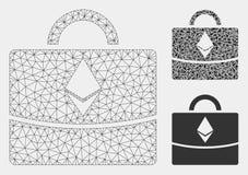 Vetor Mesh Wire Frame Model do caso do negócio de Ethereum e ícone do mosaico do triângulo ilustração do vetor