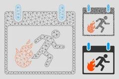 Vetor Mesh Wire Frame Model do dia de calendário do homem da evacuação do fogo e ícone do mosaico do triângulo ilustração do vetor