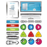 Vetor metálico EPS10 dos elementos do molde da Web ilustração stock