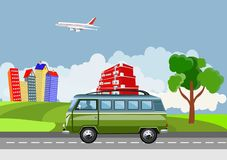 Vetor minibusa jeżdżenie na drodze, wieś, wiejski tło, wektorowa pojęcie ilustracja ilustracji