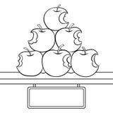 Vetor mordido do livro para colorir da venda das maçãs ilustração royalty free