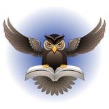Vetor, mosca da coruja de Brown com o livro Imagens de Stock