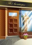 Vetor na frente da loja de vestido ilustração royalty free