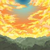 Vetor. Nascer do sol com um céu colorido acima do monte Fotos de Stock Royalty Free