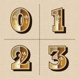 Vetor ocidental do projeto da fonte das letras do alfabeto dos números do vintage Foto de Stock