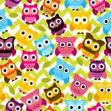 Vetor Owl Background Pattern sem emenda e de Tileable Fotos de Stock Royalty Free