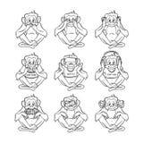 Vetor para não ver nenhum mal não ouvir nenhum mal não falar nenhum macaco mau ilustração royalty free