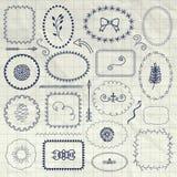 Vetor Pen Drawing Borders decorativo, quadros, elementos Fotografia de Stock Royalty Free