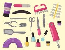 Vetor pessoal do equipamento dos cosméticos da unha da pinça do salão de beleza do pedicure do cuidado da mão da higiene dos inst ilustração stock