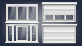 Vetor plástico da janela do PVC Cortinas de rolo Aberto e fechado Front View Elemento home do projeto da janela isolado sobre ilustração stock