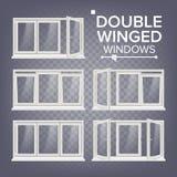 Vetor plástico da janela Dobro-voado branco PVC Windows Quadro de janela branco plástico no fundo transparente ilustração royalty free