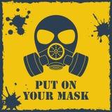 Vetor posto sobre sua máscara do biohazard Imagens de Stock