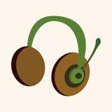 Vetor prendido tema dos elementos dos fones de ouvido do computador Imagens de Stock Royalty Free