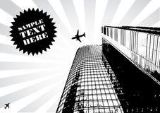 Vetor preto abstrato do projeto do arranha-céus Imagens de Stock