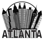 Vetor preto e branco Illu do círculo da skyline de Atlanta Imagens de Stock Royalty Free