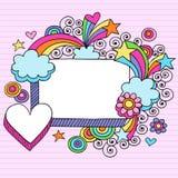 Vetor psicadélico do Doodle do caderno do frame Imagens de Stock