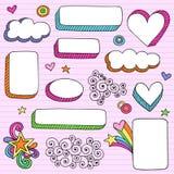 Vetor psicadélico do Doodle do caderno dos frames da forma Imagens de Stock