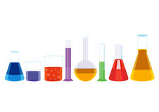 Vetor químico da ilustração dos ícones dos tubos de ensaio Imagens de Stock