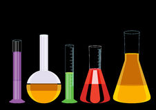 Vetor químico da ilustração dos ícones dos tubos de ensaio Imagens de Stock Royalty Free