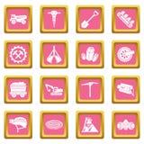 Vetor quadrado cor-de-rosa ajustado ícones da mina de carvão ilustração do vetor