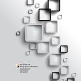 Vetor que sobrepõe o fundo geométrico do infographics dos quadrados Imagens de Stock