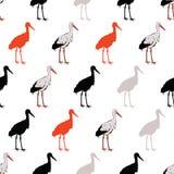 Vetor Rad Standing Cranes Seamless Pattern preto Imagens de Stock Royalty Free