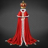Vetor realístico da coroa e do vestuário do monarca ilustração royalty free