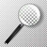 Vetor realístico da lupa Isolado na ilustração quadriculado do fundo Objeto da lupa para o zumbido e a ferramenta com L ilustração do vetor