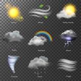 Vetor realístico dos ícones 3d do tempo ajuste Sun, nuvem, arco-íris, vento de tempestade Foto de Stock Royalty Free