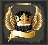 Vetor real da coroa de Grunge com asas ilustração royalty free