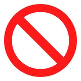 Vetor real nenhum ícone do sinal Aviso vermelho isolado ilustração royalty free