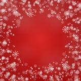 Vetor redondo da beira do floco de neve isolado no fundo vermelho Quadro de queda da neve do Natal Xmas do inverno ilustração stock