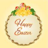 Vetor redondo dos ovos da páscoa e dos narcisos amarelos do quadro Foto de Stock
