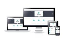 Vetor responsivo liso do desenvolvimento do design web concentrado Fotos de Stock