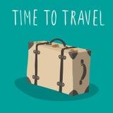 Vetor retro da mala de viagem isolado Hora de viajar Foto de Stock Royalty Free