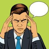 Vetor retro de sofrimento do pop art da dor de cabeça do homem Foto de Stock Royalty Free