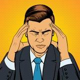 Vetor retro de sofrimento do pop art da dor de cabeça do homem Fotografia de Stock Royalty Free
