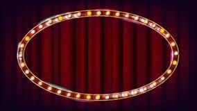 Vetor retro do quadro de avisos Placa clara de brilho do sinal Quadro realístico da lâmpada do brilho Carnaval, circo, estilo do  ilustração stock